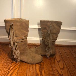 Kenneth Cole Camel Suede Fringe Boots, Size 6M